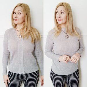 Refashioned Reversible Silver Knit Top (M/L)